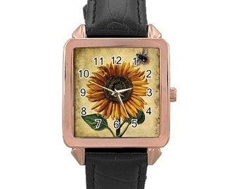 Unique Sunflower and Bee Watch