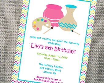 Pottery Invitation.  Custom Printable Pottery Party Invitation.  Personalized Arts and Crafts Painting Pottery  Party Invitation.