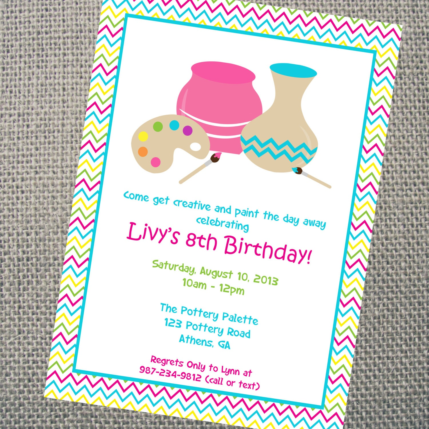 Custom Printable Pottery Party Invitation Personalized Arts – Painting Birthday Invitations