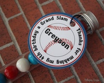 Baseball Birthday Party Personalized Favor Tag