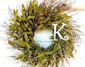 Monogram Wreath-Monogram Door Decor-SCENTED TWIG Wreath-Rustic Twig Wreath-Initial Wreath-Wedding Gift-Custom-Choose your Scent and Initial
