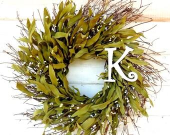 Monogram Wreath-Rustic Twig Wreath-Fall Wreath-SCENTED Wreath-Personalize Gift-Winter Door Wreath-Home Decor-Initial Wreath-Wedding Gift