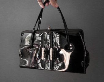 60s Patent Black Vinyl Structured Handbag Purse Large, Vegan Mad Men