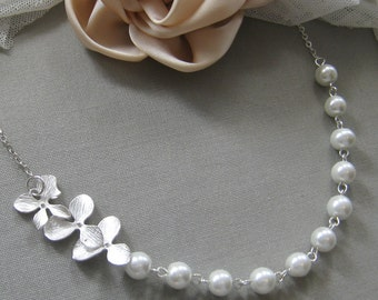 Orchid flower pearl necklace, bridesmaids necklace, wedding jewelry - W017 (Choose your pearl colour)