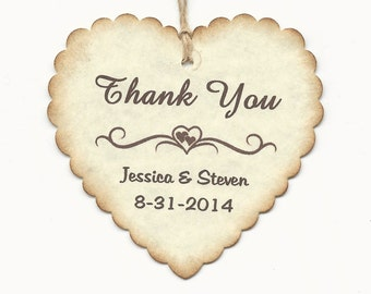 100 PERSONALIZED Heart Shaped Thank you Tag -Wedding  Favor tags-Shower or Gift tags-Hang Tags-Jelly/Jam/Honey Jar tags