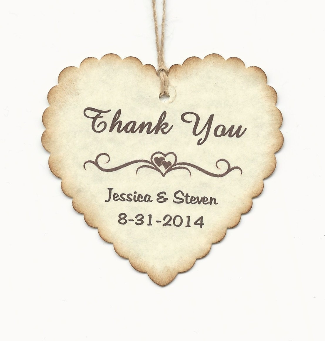 100 PERSONALIZED Heart Shaped Thank you Tag -Wedding Favor tags ...