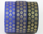 6 Yards-Decorative Fabric Trims-2 yards each-grosgrain ribbon trim-Holiday Decoration-Gift Wrapping-Gold Work Trim