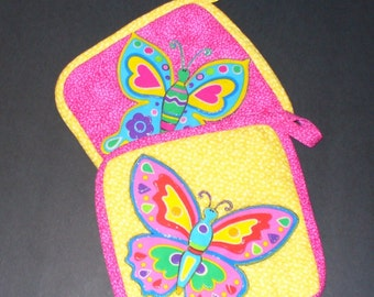 Quilted Applique Jewel Tone Butterfly Pot Holder Gift Set