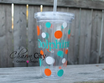 Miami Dolphins Inspired Plastic Tumbler Personalized