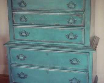 Sold Hand Painted Aqua/Turquoise Blue Dresser
