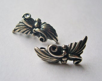 Sterling Swirling Leaf and Tendril Earrings Post Earrings Signed Vintage