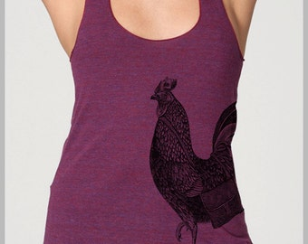 Rooster with Messenger Bag  American Apparel Racerback Tank Women's Tank Top