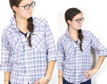 SALE Vintage Retro Plaid Flannel Longsleeve