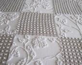 Mocha White Rosebud Queen Patchwork Quilt