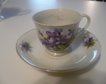 Demitasse cup & saucer white china with violets