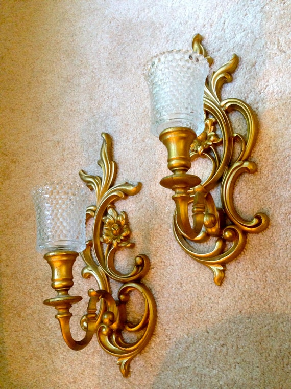Gold Tone Candle Wall Sconces : Syroco Candle Holders plastic ornate gold tone sconces pair of