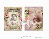 Digital collage sheet, shabby chic, Jewels cards 3, instant download, scrapbooking, vintage girls, journaling,