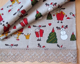 """Linen Table Runner Tablecloth Christmas Rudolph Reindeer Holiday Linen Lace 17.5"""" x 51"""""""