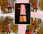 Monster High Inspired Doll Clothes -  Handmade Harlequin Top & Gold Miniskirt
