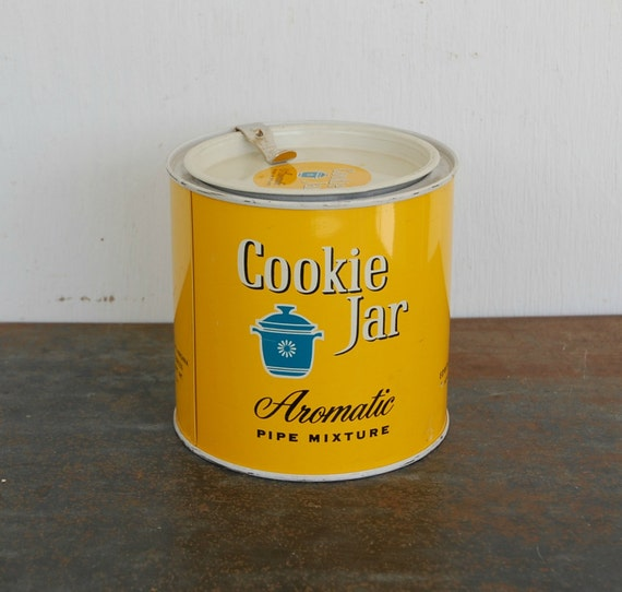 Vintage Cookie Jar Pipe Mixture Tin With Lid Edwin By