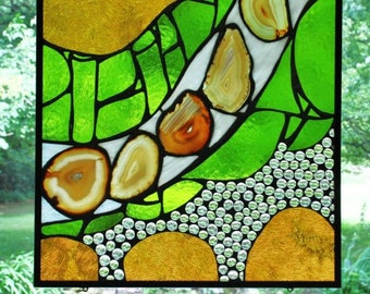 Custom Made Abstract Stained Glass/Agate Square Panels