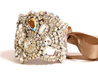 Crystal Cuff With Rhinestone Clasp or Ties