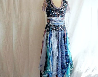 This dress is ready to ship RomanticTattered Dress Blue Purple Upcycled Woman's Clothing Funky Style Shabby Chic Eco Friendly Upcycled Cloth