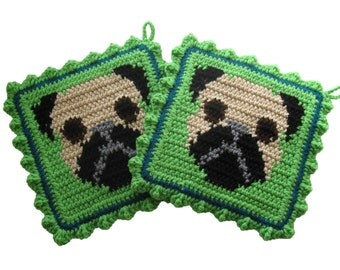 Pug Dog Pot Holder Set. Lime green crochet pot holders with fawn pugs