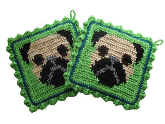 Pug Dog Pot Holder Set. Lime green crochet pot holders with fawn pugs