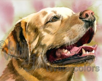 "Labrador Retriever, Yellow Lab, AKC Sporting, Service Dog, Pet Portrait, Watercolor Painting Print, Wall Art, Home Decor, ""Yeller Feller"""