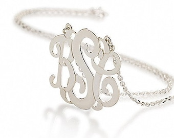 """Monogram Necklace 1.25""""- Personalized  Monogram Necklace - 925 Sterling silver"""