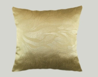 """Decorative Pillow case, Home Decor Designer Gold color fabric with patterns Throw pillow case, fits 18"""" x 18"""" insert, Cushion case"""
