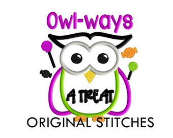 Halloween Owl Applique and Embroidery Design File 5x7 6x10 7x11