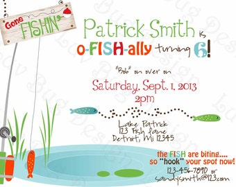 Fishing Invitation Printable Birthday party invite by Luv Bug Design