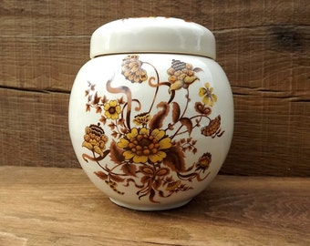 Pottery floral liddded ginger jar by Sadler, England