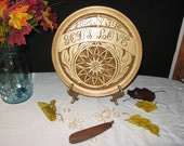 Wooden Collector PLate Hand Carved Gift Chip Carved PRICE REDUCED!