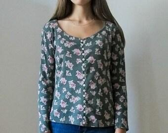 Vintage 90s grey floral button down blouse ESPRIT size S M