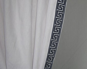 "Two  96"" x 50""  Custom Linen Curtain  Panels- Rod Pocket - Navy /White or Black/White  Greek Key Trim"