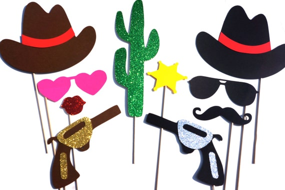 Photo Booth Props - The Deluxe Western Wedding Collection - 10 piece prop set - Birthdays, Weddings, Parties - GLITTER Photobooth Props