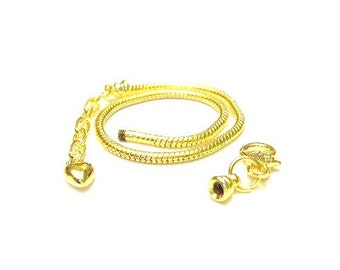 1 Gold, 19 cm, Euro Charm Bracelet w/ Lobster Clasp & Heart Extender Chain - Removable End 7.5 inch ""
