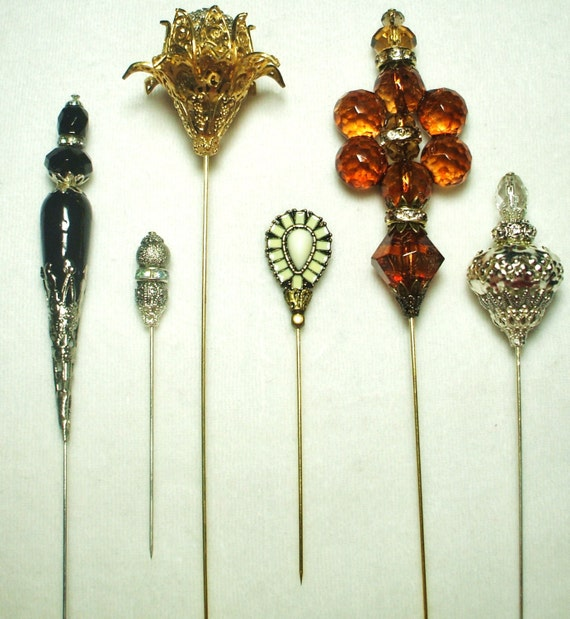 Vintage Hat Pins: 6 Antique Style Victorian Hat Pins With Vintage And Antique