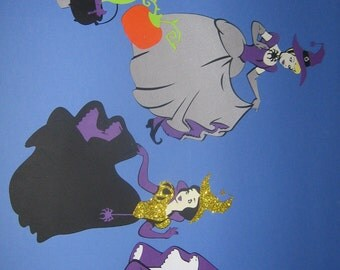 Halloween Princess witches, Cinderella, Snow White, Aurora, Belle Witches, Halloween birthday party, decorations