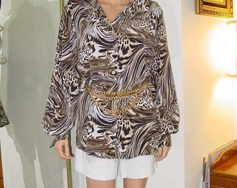 Vintage Oversized Brown and White Animal Print Blouse
