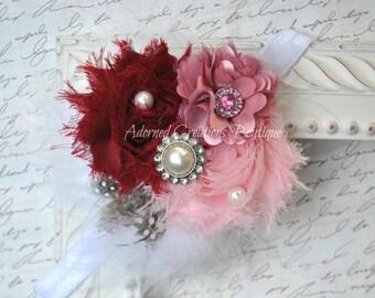 Baby Headband, Newborn Headband, Girls Headband, Toddler Headband, Burgundy, Mauve, Pink flower headband