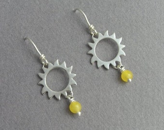 Sun Earrings - Dangle Sun Ray Earrings - Sterling Silver and Yellow Jade - Summer earrings