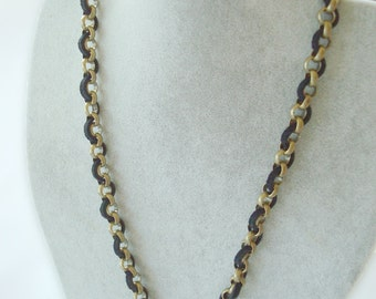 Custom Order for xemman88: Men's Brass Chain Necklace with Black Deerskin Leather. Simple and Masculine.