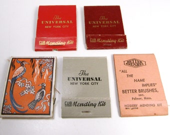 5 Pc Funeral Chapel Advertising Sewing Kit Mending Kits The Universal New York City Plus Dressing & Make Up Hosiery Kits Matchbooks