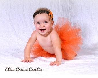 "Pumpkin Tutu:   Orange With Green ""Leaves"" Baby Halloween Tutu"