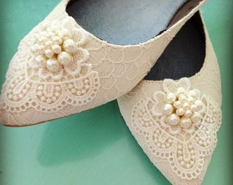 Dainty Pearl Ponted Toe Bridal Ballet Flats Wedding Shoes - Any Size - Pick your own crystal color