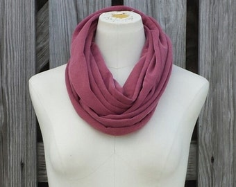 SALE - MARSALA Infinity Scarf - Petite Eternity Scarf - Brick Red Loop Scarf - Adults and Kids Scarf